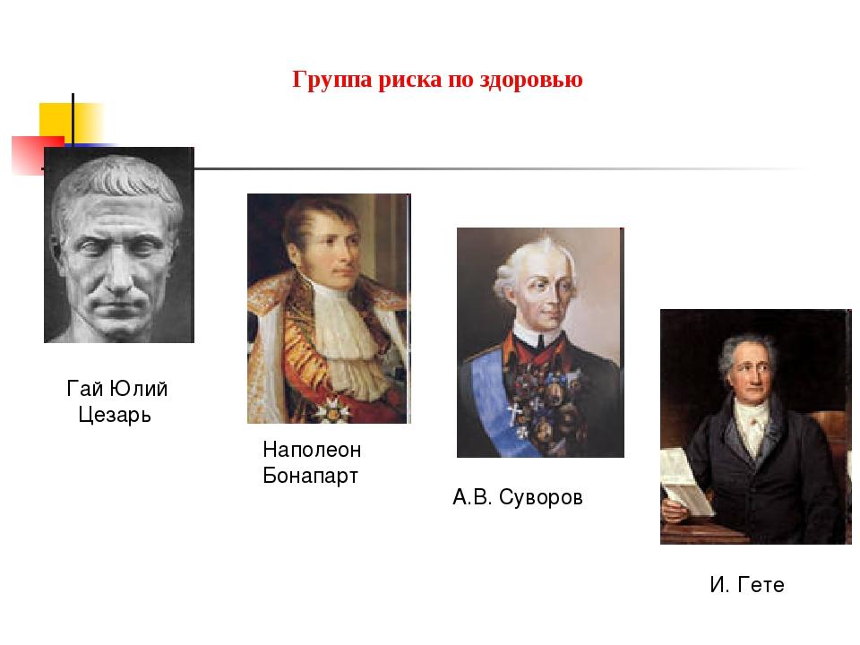 Группа риска по здоровью Гай Юлий Цезарь Наполеон Бонапарт А.В. Суворов И. Гете