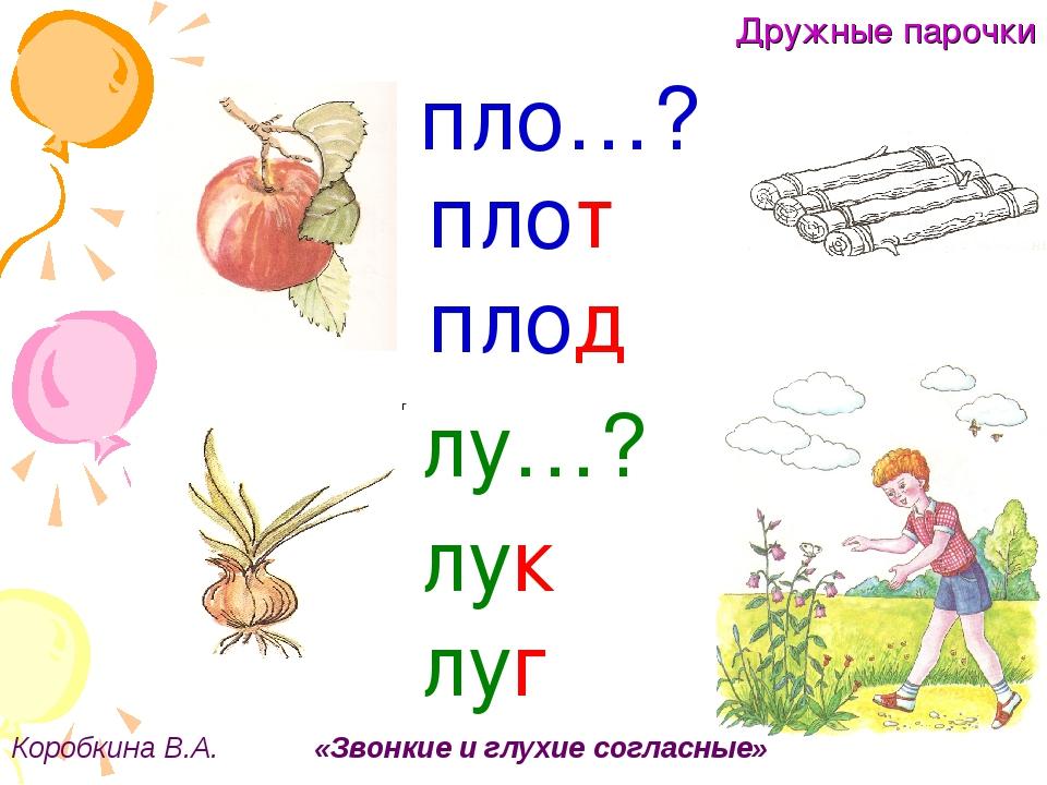 Дружные парочки Коробкина В.А. «Звонкие и глухие согласные» г пло…? плот плод...