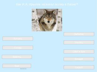 Как И.А. Крылов называл волка в басне? Серый Сват и кум Хитрец Забияка Сосед