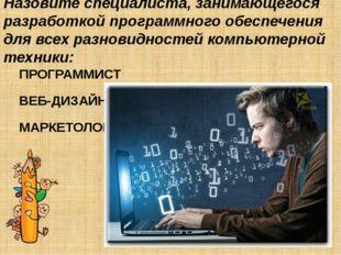 Назовите специалиста, занимающегося разработкой программного обеспечения для