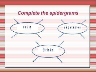 Complete the spidergrams