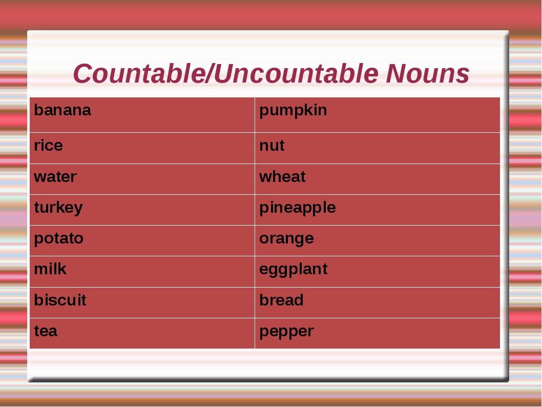 Countable/Uncountable Nouns bananapumpkin ricenut waterwheat turkeypineap...