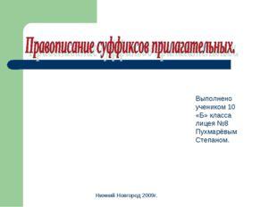 Выполнено учеником 10 «Б» класса лицея №8 Пухмарёвым Степаном. Нижний Новгоро