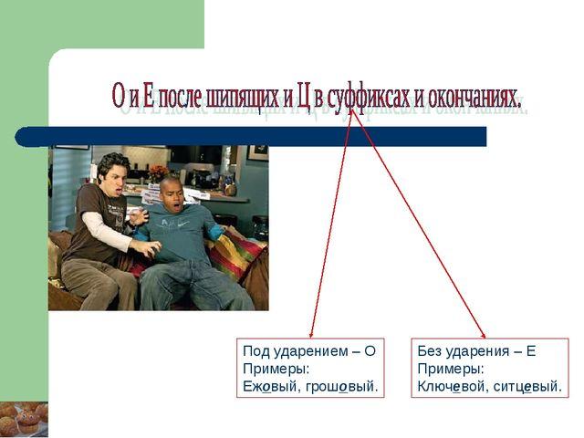 Под ударением – О Примеры: Ежовый, грошовый. Без ударения – Е Примеры: Ключев...