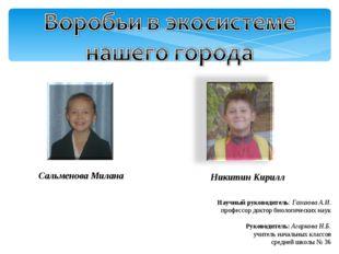 Сальменова Милана Никитин Кирилл Научный руководитель: Газизова А.И. профессо