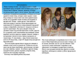 Актуальность: Наша столица Астана - это современный и самый красивый город, к