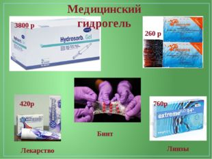 Медицинский гидрогель 3800 р 260 р Бинт Лекарство Линзы 760р 420р