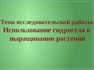 Тема исследовательской работы: Использование гидрогеля в выращивании растений