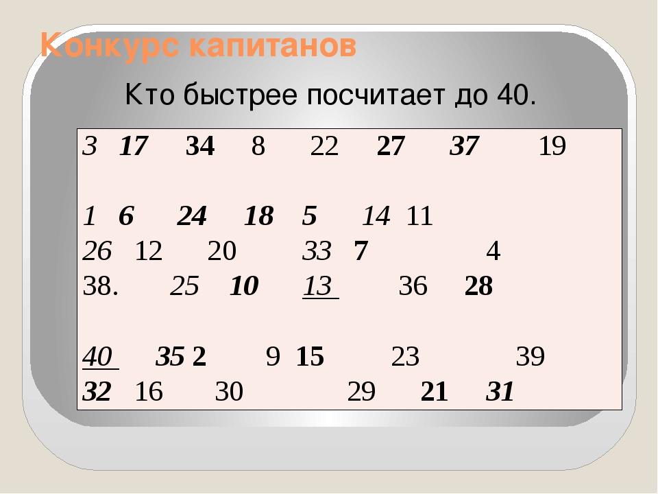 Конкурс капитанов Кто быстрее посчитает до 40. 317348 22273719 16 24 18 51411...