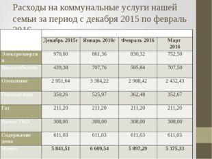 Расходы на коммунальные услуги нашей семьи за период с декабря 2015 по феврал