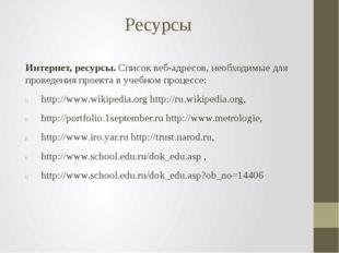 Ресурсы Интернет, ресурсы. Список веб-адресов, необходимые для проведения про