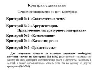 Критерии оценивания Сочинение оценивается по пяти критериям. Критерий №1 «Соо
