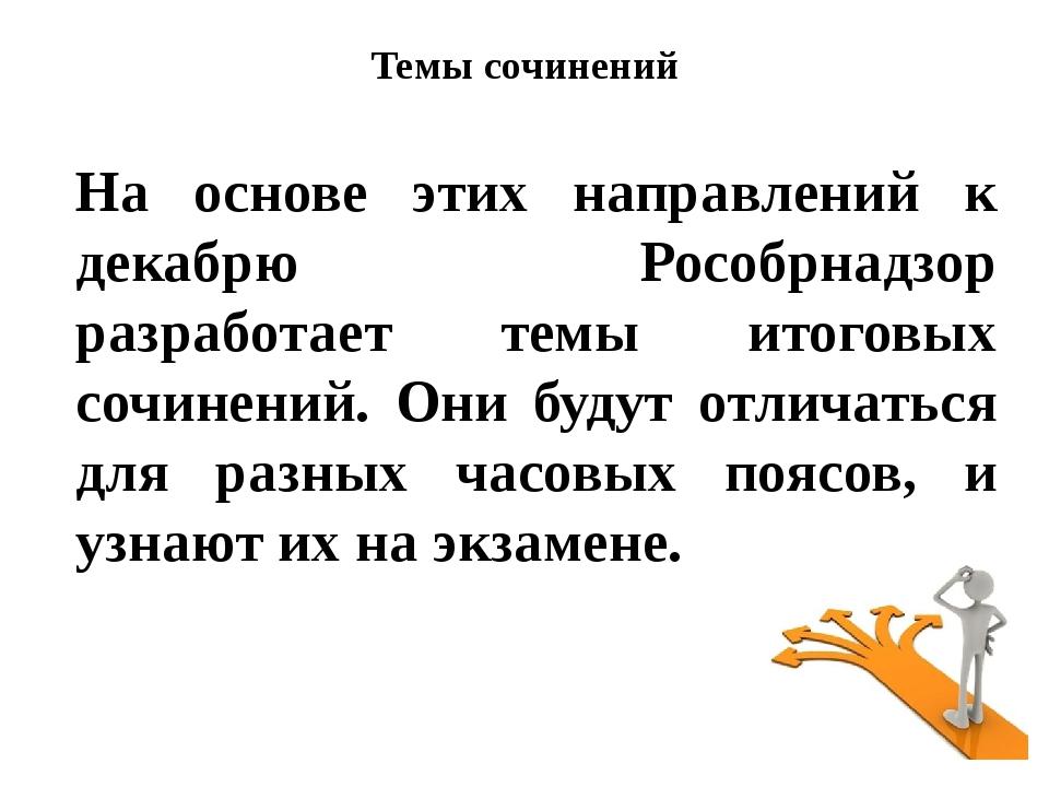 На основе этих направлений к декабрю Рособрнадзор разработает темы итоговых с...