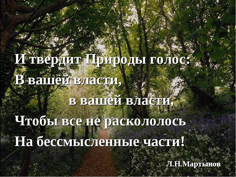 И твердит Природы голос: В вашей власти, в вашей власти, Чтобы все не раскол...
