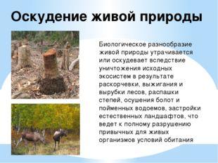 Оскудение живой природы Биологическое разнообразие живой природы утрачивается