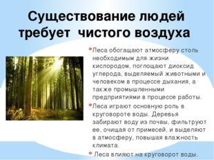 Существование людей требует чистого воздуха Леса обогащают атмосферу столь не