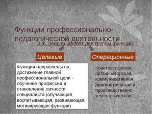 Функции профессионально-педагогической деятельности Э.Ф. Зеер выделяет две гр