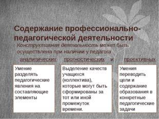 Содержание профессионально-педагогической деятельности Конструктивная деятель