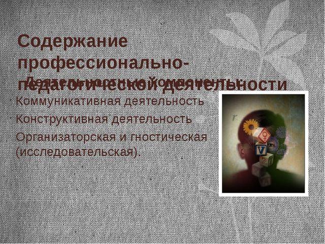 Содержание профессионально-педагогической деятельности Деятельностные компоне...