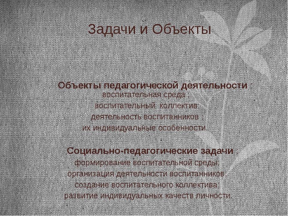Задачи и Объекты  Объекты педагогической деятельности : воспитательная среда...
