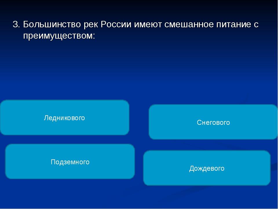 3. Большинство рек России имеют смешанное питание с преимуществом: Снегового...