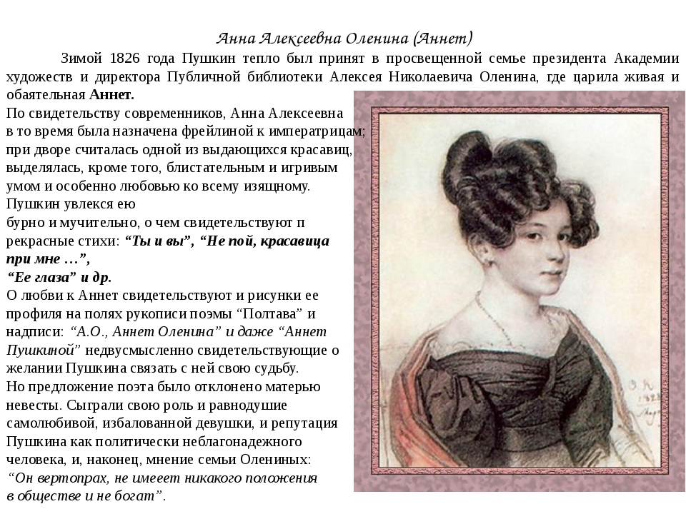 Анна Алексеевна Оленина (Аннет) Зимой 1826 года Пушкин тепло был принят в про...
