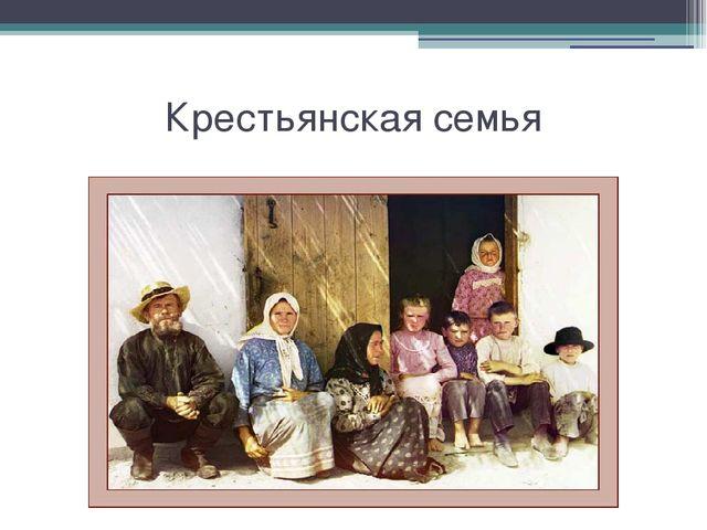 Крестьянская семья Крестьянская семья.