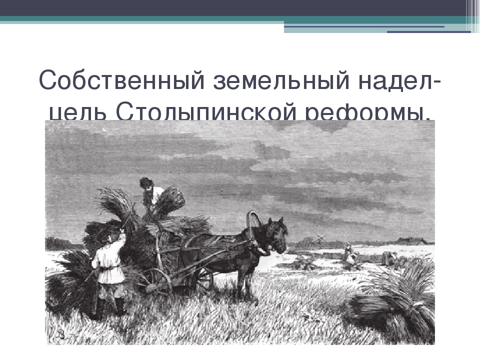 Собственный земельный надел-цель Столыпинской реформы. Собственный земельный...