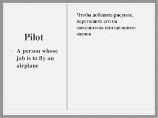 Pilot A person whose job is to fly an airplane