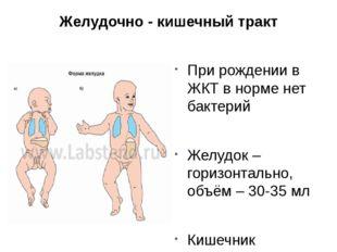 Желудочно - кишечный тракт При рождении в ЖКТ в норме нет бактерий Желудок –