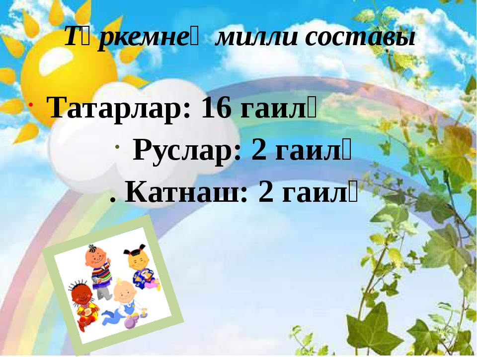 Төркемнең милли составы Татарлар: 16 гаилә Руслар: 2 гаилә . Катнаш: 2 гаилә