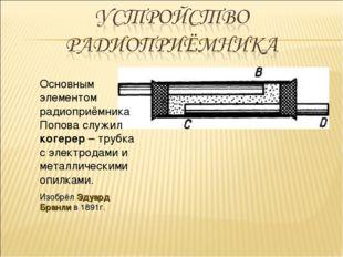 Основным элементом радиоприёмника Попова служил когерер – трубка с электродам