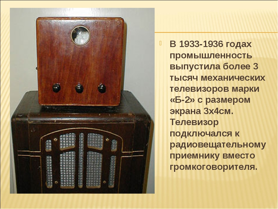 В 1933-1936 годах промышленность выпустила более 3 тысяч механических телевиз...