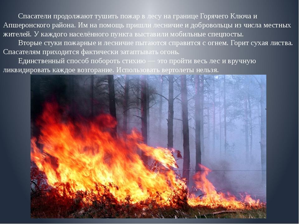 Спасатели продолжают тушить пожар в лесу на границе Горячего Ключа и Апшеро...