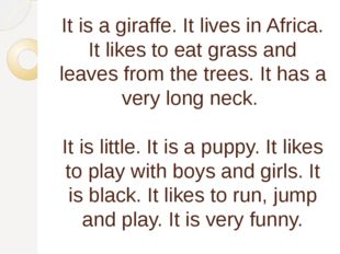 It is a giraffe. It lives in Africa. It likes to eat grass and leaves from th