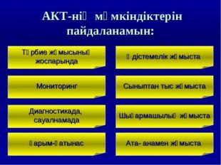 АКТ-нің мүмкіндіктерін пайдаланамын: Тәрбие жұмысының жоспарында Мониторинг