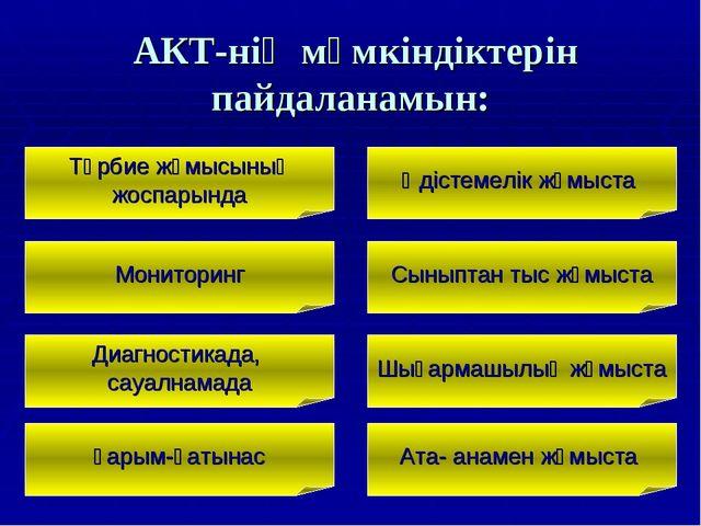 АКТ-нің мүмкіндіктерін пайдаланамын: Тәрбие жұмысының жоспарында Мониторинг...