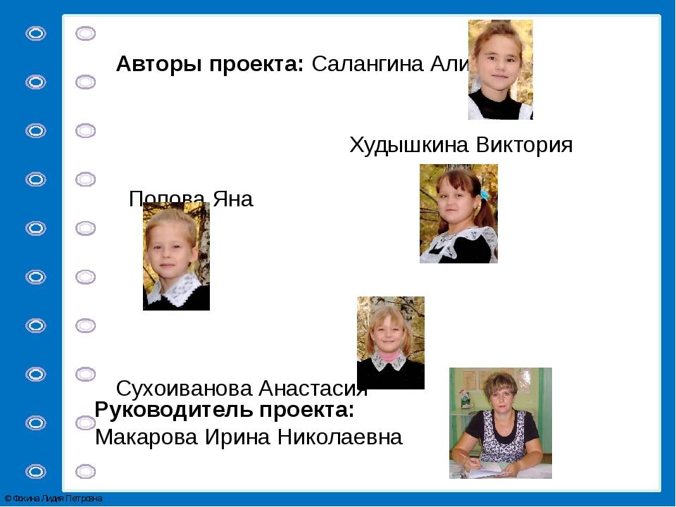 Авторы проекта: Салангина Алина Худышкина Виктория Попова Яна Сухоиванова Ана...