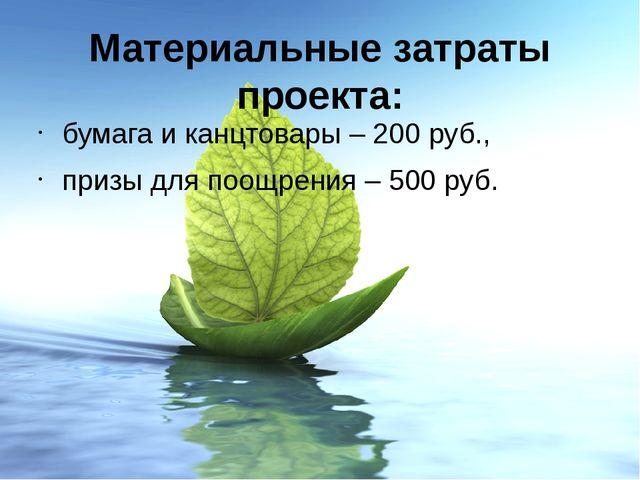 Материальные затраты проекта: бумага и канцтовары – 200 руб., призы для поощр...