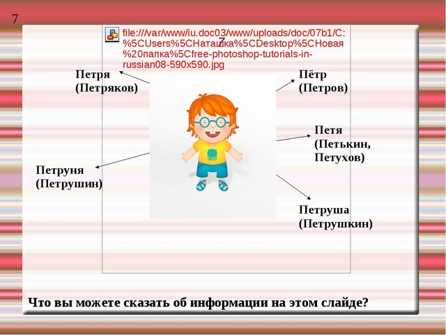 7 Петря (Петряков) Пётр (Петров) Петя (Петькин, Петухов) Петруша (Петрушкин)...