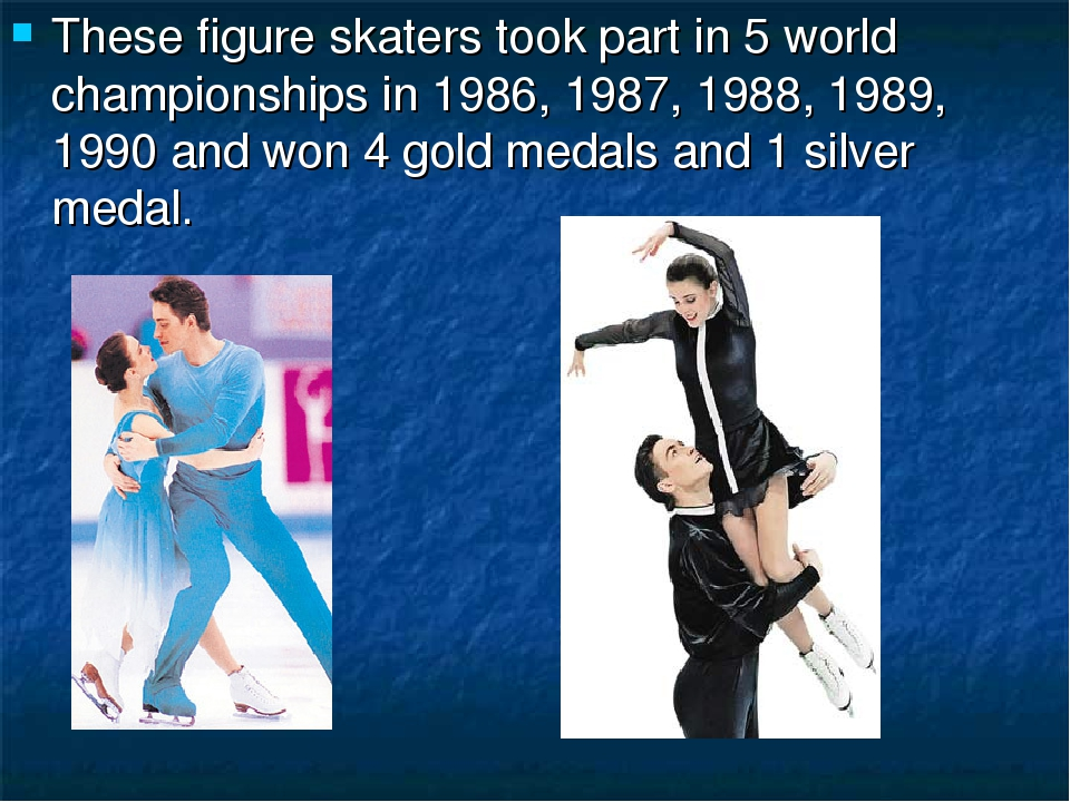 These figure skaters took part in 5 world championships in 1986, 1987, 1988,...