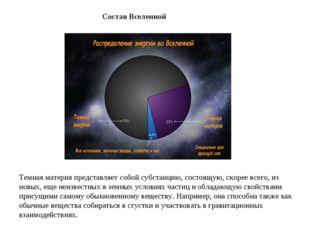 СоставВселенной Темная материя представляет собой субстанцию, состоящую, ско
