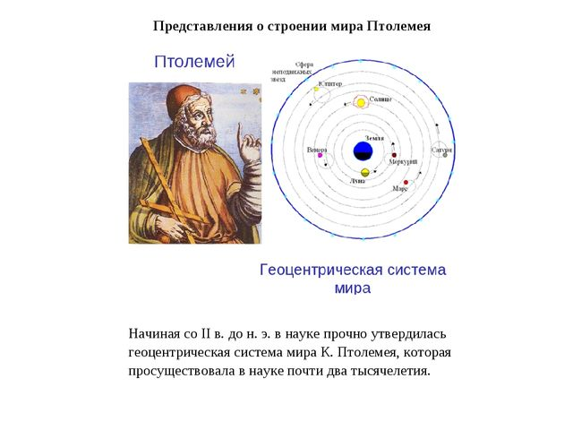 Начиная со II в. до н. э. в науке прочно утвердилась геоцентрическая система...