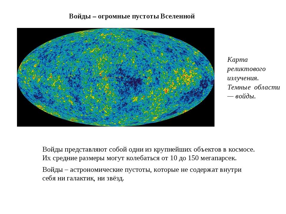 Войды – огромные пустоты Вселенной Войды представляют собой одни из крупнейши...