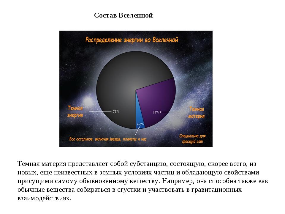 СоставВселенной Темная материя представляет собой субстанцию, состоящую, ско...