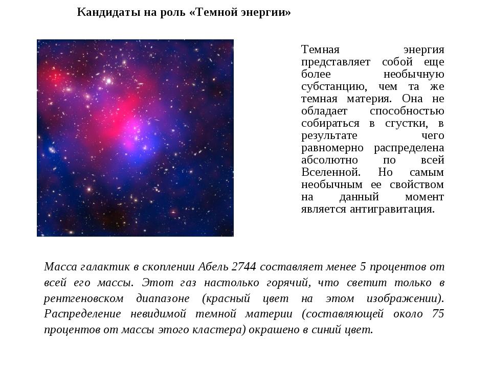 Темная энергия представляет собой еще более необычную субстанцию, чем та же т...