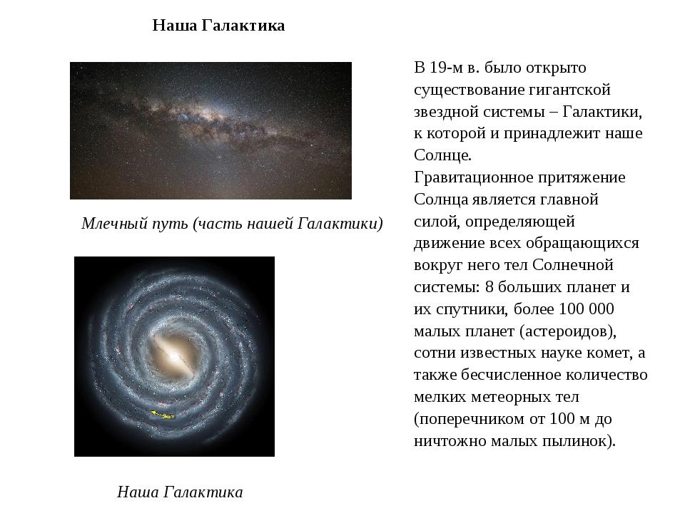 Наша Галактика Млечный путь (часть нашей Галактики) В 19-м в. было открыто су...