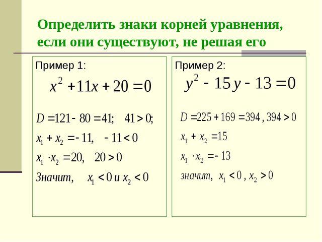 Определить знаки корней уравнения, если они существуют, не решая его Пример 1...