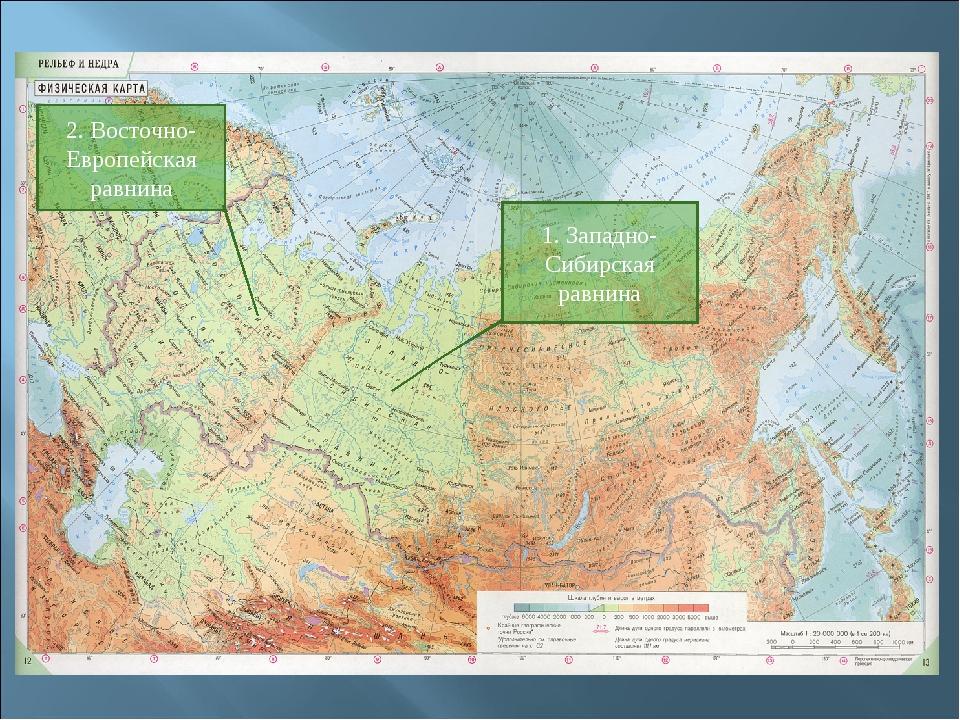 2. Восточно-Европейская равнина 1. Западно-Сибирская равнина