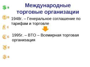 Международные торговые организации 1948г. – Генеральное соглашение по тарифам